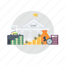 bank, bitcoin, coin, cryptocurrencies, finance, investment, money icon
