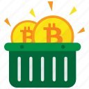 basket, bitcoin, cryptocurrency, digital money icon