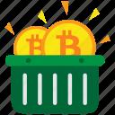 basket, bitcoin, cryptocurrency, digital money icon