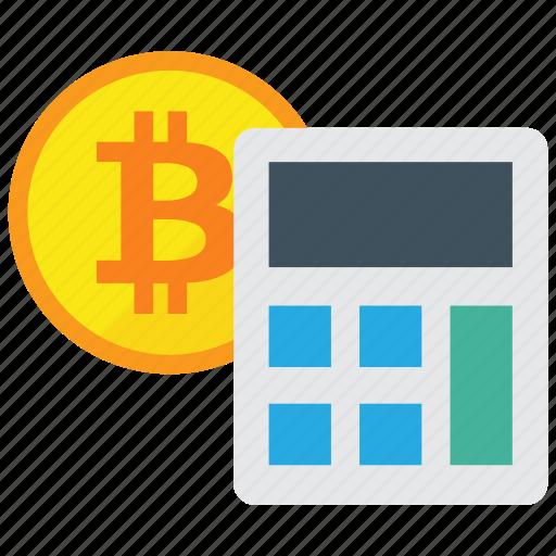 bitcoin, calculate, calculator, cryptocurrency, digital money icon