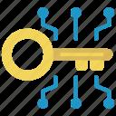 blockchain, crypto, key, protection, unlock icon
