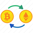 bitcoin, coin, ethereum, exchange icon