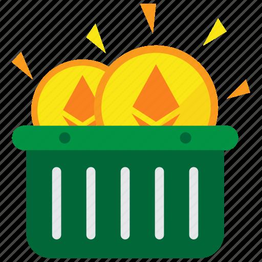 basket, cryptocurrency, digital money, ethereum, mining icon