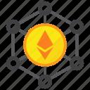 blockchain, cryptocurrency, digital money, ethereum, mining icon