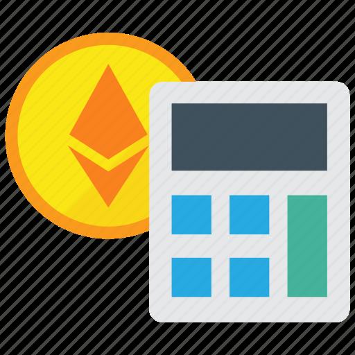 calculate, calculator, ethereum icon