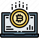 bitcoin, coin, computer, cryptocurrency, currency, digital, laptop
