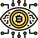 bitcoin, coin, cryptocurrency, currency, eye, robotics, technology icon