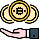 bitcoin, coin, cryptocurrency, currency, digital, hand, profit icon