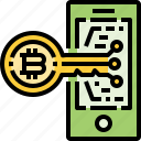 bitcoin, cryptocurrency, currency, key, mobile, security, smartphone