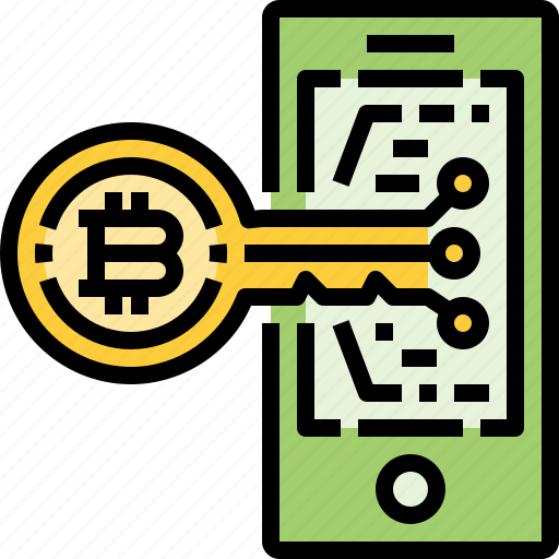 Bitcoin, cryptocurrency, currency, key, mobile, security, smartphone icon - Download on Iconfinder