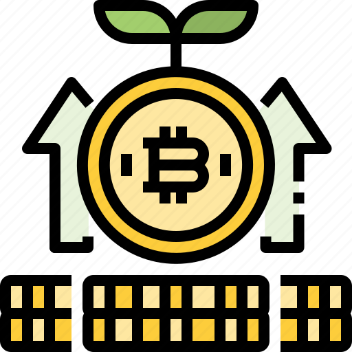 bitcoin, coin, cryptocurrency, digital, growth, money, profit icon