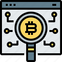 bitcoin, cryptocurrency, digital, glass, magnifying, search, web