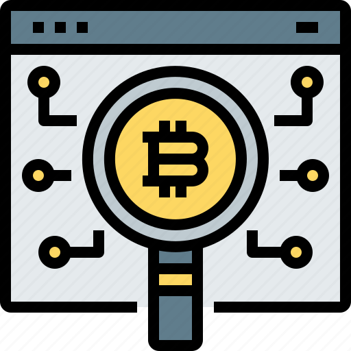 bitcoin, cryptocurrency, digital, glass, magnifying, search, web icon