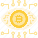 bitcoin, coin, cryptocurrency, currency, digital, eye, robotics, technology icon