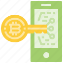bitcoin, coin, cryptocurrency, currency, digital, key, mobile, security, smartphone icon