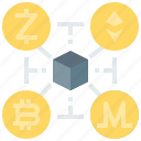 bitcoin, blockchain, coin, cryptocurrency, currency, digital, encrypted, ethereum, payment icon