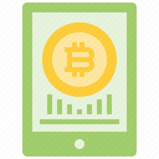 bitcoin, coin, cryptocurrency, currency, digital, tablet, technology icon