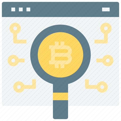 bitcoin, broeser, coin, cryptocurrency, currency, digital, glass, magnifying, search, web icon