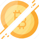 bitcoin, cryptocurrency, digital, divide, halving, money icon