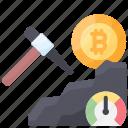 bitcoin, cryptocurrency, medium, mining, pickaxe icon