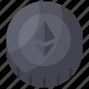 coin, crypto, eth, ethereum, mining icon