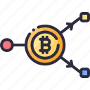 bitcoin, coin, cryptocurrency, double, exchange, spending icon