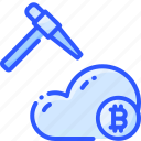 bitcoin, cloud, crypto, cryptocurrency, mining icon