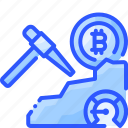 bitcoin, cryptocurrency, easy, mining, pickaxe icon