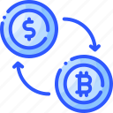 arrow, bitcoin, currency, exchange, transaction icon
