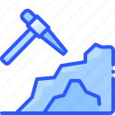 cave, coal, gold, mining, pickaxe icon