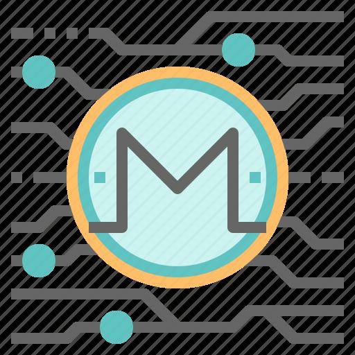 blockchain, cryptocurrency, digital, mining, monero, money icon