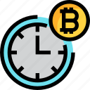 business, clock, cryptocurrency, digital, money, time icon