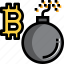 bomb, break, business, cryptocurrency, digital, money icon
