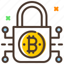 bitcoin, cryptocurrency, digital lock, encryption, security icon