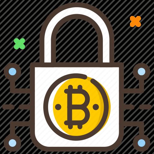 bitcoin, cryptocurrency, digital lock, encryption, security icon