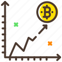 analytics, bitcoin, chart, line graph, market, value icon