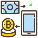 bitcoin, cash, conversion, digital currency, transaction icon
