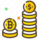 bitcoin, coin value, coins, cryptocurrency, digital coins icon