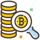 bitcoin, cryptocurrency, digital currency, search bitcoin icon