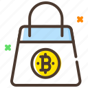 bitcoin, cryptocurrency, digital currency, shopping bag