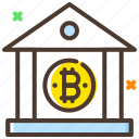 bank, bitcoin, conversion, cryptocurrency, digital bank icon
