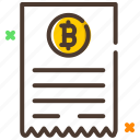 bill, cryptocurrency, invoice, payment, receipt icon