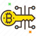 bitcoin, cryptocurrency, digital key, encryption icon