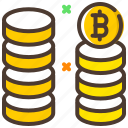 bitcoin, coin stack, compare, cryptocurrency, market value icon