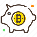 banking, benefit, bitcoin, cryptocurrency, piggy bank, savings icon