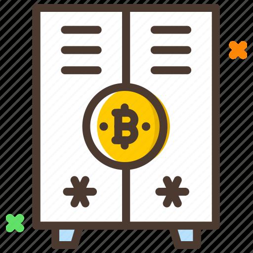 bank, cryptocurrency, digital locker, locker, safety icon