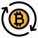 bitcoin, circulation, cryptocurrency, network, sync, transaction icon