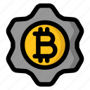 bitcoin, cryptocurrency, cryptotech, gear, technology icon