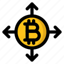 bitcoin, cryptocurrency, development, expansion, growth icon