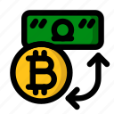 bitcoin, cryptocurrency, dollar, exchange, trade icon